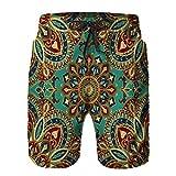 Hombres Verano Secado rápido Pantalones Cortos Playa Patrón con Motivos Florales de Estilo Medieval Oriental étnico Oriental Trajes de baño Correr Surf Deportes-S
