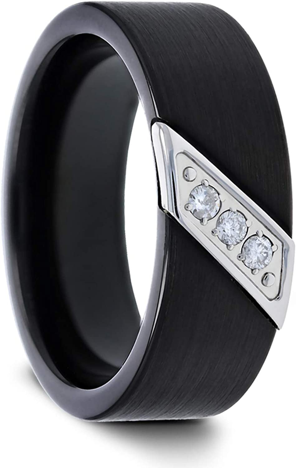 Liam Flat Black Satin Finished Tungsten Carbide Wedding Band with Diagonal Diamonds Set in Stainless Steel - 8 mm (10.5)