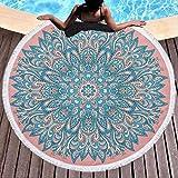 MKHB Toalla de Playa Mandala extrafina Microfibra Redonda Toalla de Yoga Impresa Grande Estera de...
