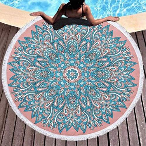 MKHB Toalla de Playa Mandala extrafina Microfibra Redonda Toalla de Yoga Impresa Grande Estera de Playa 150x150cm código 11