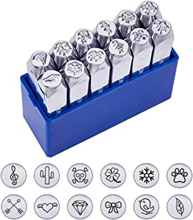 """BENECREAT 12 Pack (6mm 1/4"""") Design Stamps, Metal Punch Stamp (Nature Theme).."""