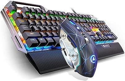 CHUJIAN Mechanische Tastatur  Maus Headset-Satz  Gr ne Achse Schwarz Achse Wired Desktop Notebook Externe USB-Tastatur  dreiteilig  Schwarz  Wei   Color Black  Style A