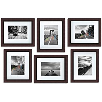 "Art Street Decorative Premium Polymer Individual Wall Photo Frame, Set of 6 (6"" X 8"" Picture Size matted to 4"" x 6"", Brown)"