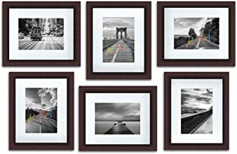 """Art Street Decorative Polymer Individual Wall Photo Frame, Set of 6 (6"""" X 8"""" Picture Size matted to 4"""" x 6"""", Brown)"""