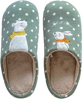Tomwell Zapatillas de Mujer Hombre Niño Niña Invierno Cálido Peluche Antideslizantes de Animales Pantuflas de Casa Suave A...
