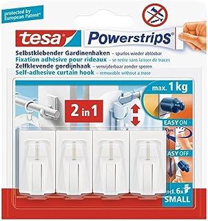 Tesa Powerstrips Vario-gordijnhaken, zelfklevende gordijnhaken, verwijderbaar en herbruikbaar, belastbaar tot 1 kg, wit, 1...