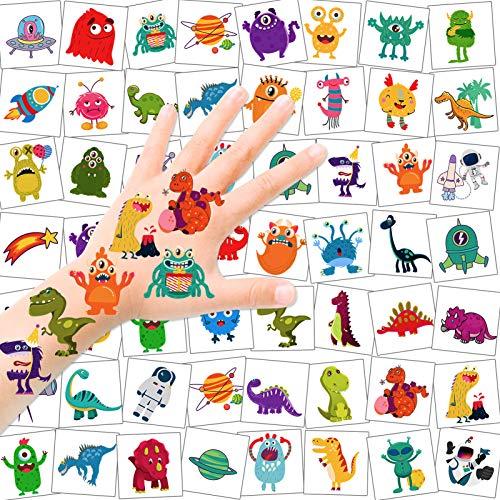 HOWAF Tatuajes Temporales niños, 96 Piezas Monstruo Espacial Dinosaurio Tatuaje Pegatina Niños, Falso Tatuajes calcamonias para niños, Fiestas Infantiles cumpleaños de niños Regalo piñata