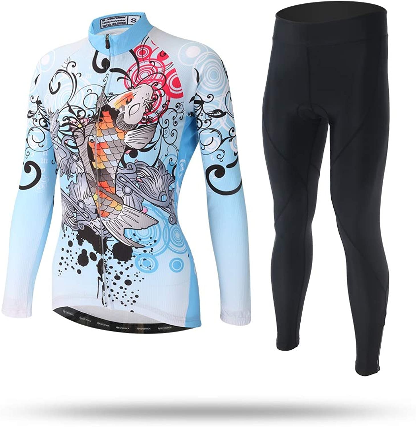 Classic Woman Bike Jersey Summer Road MTB Cycling for Women Breathable Quick Dry New Fabric Women's QuickDrying Jerseys Long Sleeve Jacket Sets bluee Koi Cycling Equipment Maillot