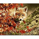 ZJ Pintar por número Red Arce Leaf Fox Animal DIY Pintura al óleo Set 40 * 50CM Lienzo sin Marco decoración del hogar acrílico Pintura de Arte Moderno.