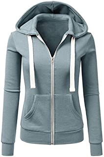 Wintialy Women Long Sleeve Patchwork Solid Color Hooded Zipper Casual Sport Coat