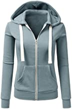 Misaky Women's Hoodie Autumn Winter Warm Patchwork Solid Color Hooded Zipper Casual Sport Coat(Blue, X-Large)