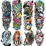 Leoars Wild Animal Temporary Tattoos Sleeve, 4-Sheet Large Lion Arm Temporary Tattoos and 4-Sheet Fake Tiger Rabbit Fish Full Arm Sleeve Tattoo Sticker for Women Men
