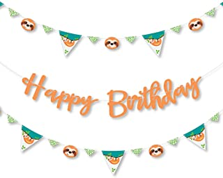 Big Dot of Happiness Let's Hang - Sloth - Birthday Party Letter Banner Decoration - 36 Banner Cutouts and Happy Birthday Banner Letters
