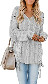 87e63c62971 Hestenve Plus Size Womens Lace Up Pullover Sweaters Long Sleeve Cable Knit  V Neck Jumper Tops