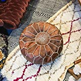 Marocain Cuir Tabouret Pouf,Marrakech Galerie Handmade Cuir Poufs,Coussins De Siège De Plancher Non étouffé 22''X 14'',pour Le Mariage Chambre De Salon-Marron 55 X 35 Cm / 22''x 14''in (Diameter X