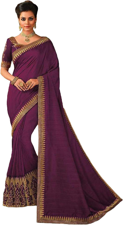 DesiButik's Party Wear Ravishing Purple Satin Silk Saree