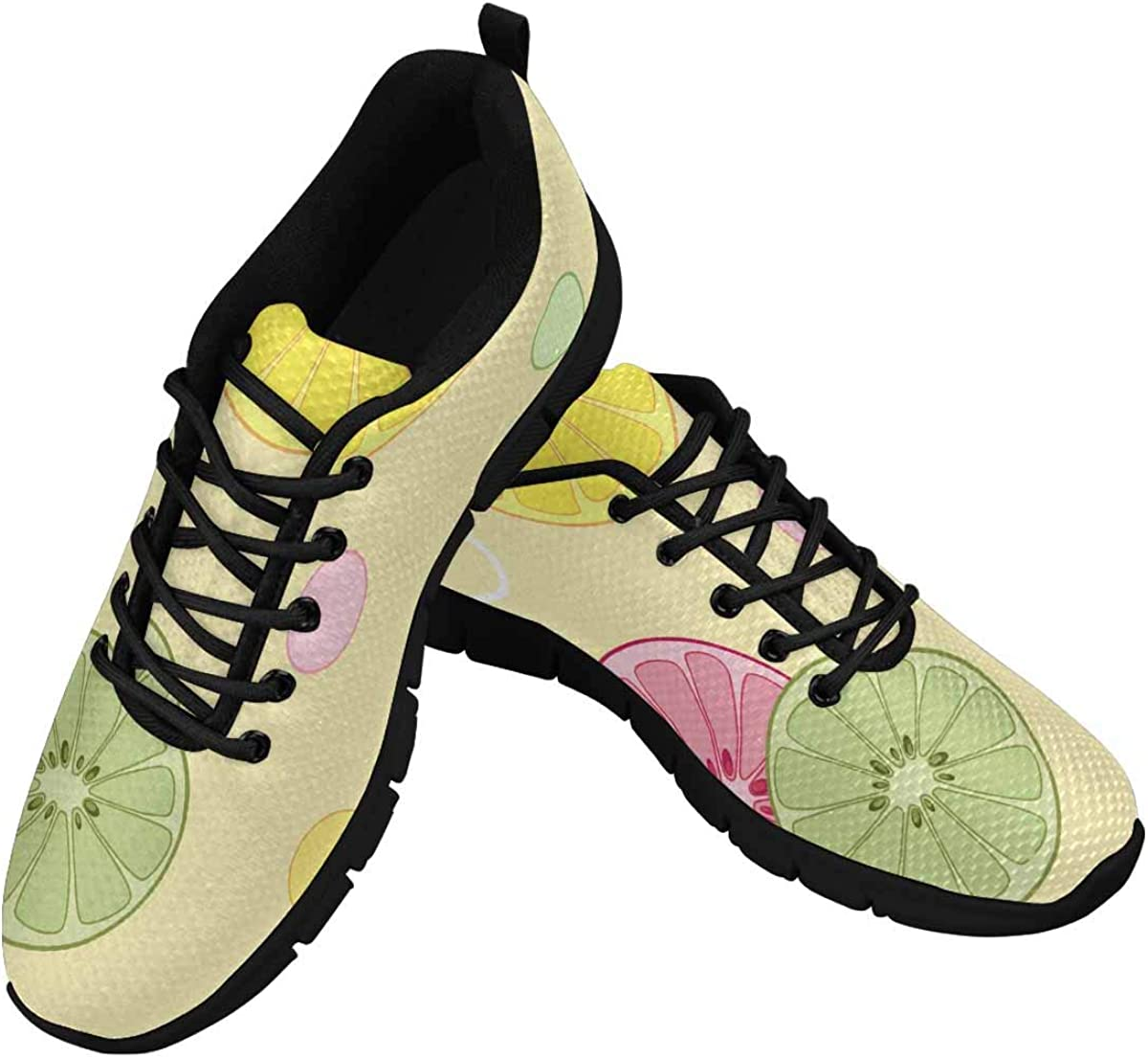 InterestPrint Citrus Pattern with Lemon and Orange Women's Lightweight Athletic Casual Gym Sneakers