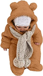 Sharemen Baby Boys Girls Thicker Grid Jumpsuit Hoodie Romper Outfit Bodysuit (12-18Months, Brown)
