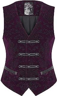 Punk Rave Mens Vest Waistcoat Purple Damask Velvet Goth Steampunk Aristocrat VTG