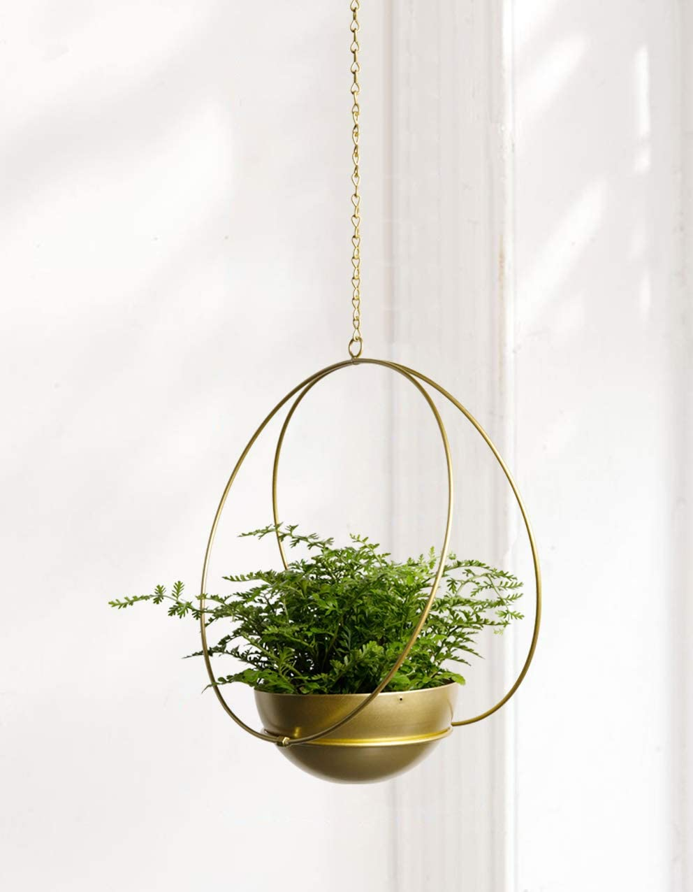ABETREE Hanging Planter for Indoor Plants Metal Modern Wall and Ceiling Planter Minimalist Small Flower Pot Holder Hanger for Home Decor (Gold)