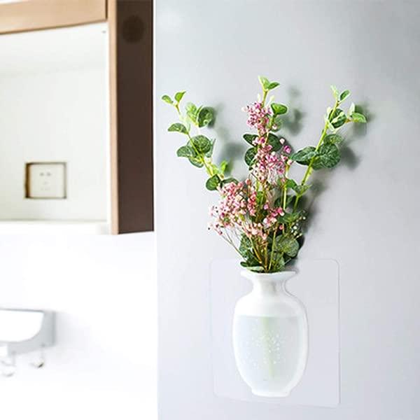 EJAYOUNGer 硅胶粘花瓶 3 个装可重复使用壁挂式花盆室内钻孔免悬挂装饰插花花瓶