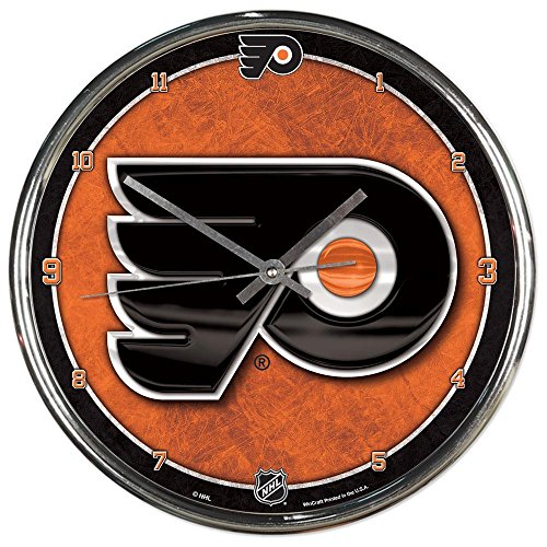 Philadelphia Flyers NHL 12 Inch Round Chrome Plated Wall Clock