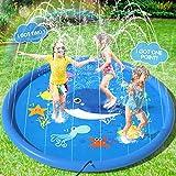 Peradix Splash Pad,170CM Aspersor de Juegos de Agua para Niños PVC Splash Play Mat Almohadilla de Juego de Agua para Niños para Jardín de Verano Juguetes Acuático Actividades Familiares