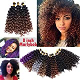 Ombre Two Tones Marlybob Crochet Braids Hair Extension Synthetic Deep Wave Afro Kinky Jerry Curl Jamaican Bouce Braiding Weave for Black Women 8inch 3 lots/pack 90g- Black to Dark Blonde
