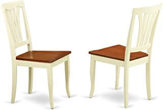 East West Furniture Dining Chair Set with Wood Seat, Buttermilk/Cherry Finish, Set of 2