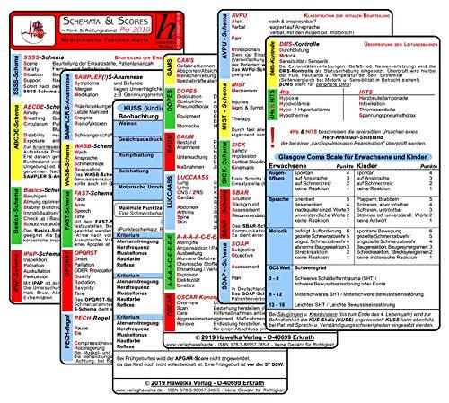 Schemata & Scores PRO in Klinik & Rettungsdienst (3 Karten Set) - SSSS-Schema, ABCDE, Basics, IPAP-Schema, SAMPLER, WASB, FAST, OPQRST, PECH-Regel, DMS, 4Hs, HITS, GCS, KUSS, APGAR, SBAR