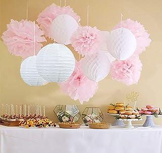 Qian's Party 12pcs White Pink Pom Pom Flower Tissue Paper Pom Pom Honeycomb Ball Paper Lantern Paper Flower Hanging Pom Wedding Nursery Paper Decorations Bridal Shower Decoration Pink Party