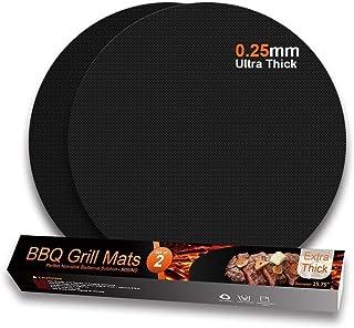 Lot de 2 Tapis de Cuisson Ronds Anti-adhésifs pour Barbecue au gaz, au Charbon de Bois, Grill électrique, réutilisables et...