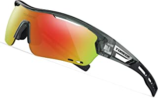 TOREGE Polarized Sports Sunglasses with 3 Interchangeable Lenses for Men Women Cycling Running Driving Fishing Golf Baseball Glasses TR33 Storm Chaser