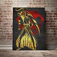 黒崎一護ゴールデンポスターキャンバスウォールアートデコレーションプリントリビングキッドチルドレンルームホームベッドルームデコレーションペインティング/ 60x80cm(フレームなし)