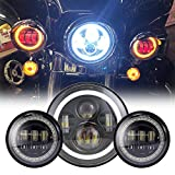Black 7' Inch LED Headlight with DRL+ 2x 4.5' 30w Fog Light Passing Lamps for Motorcycles