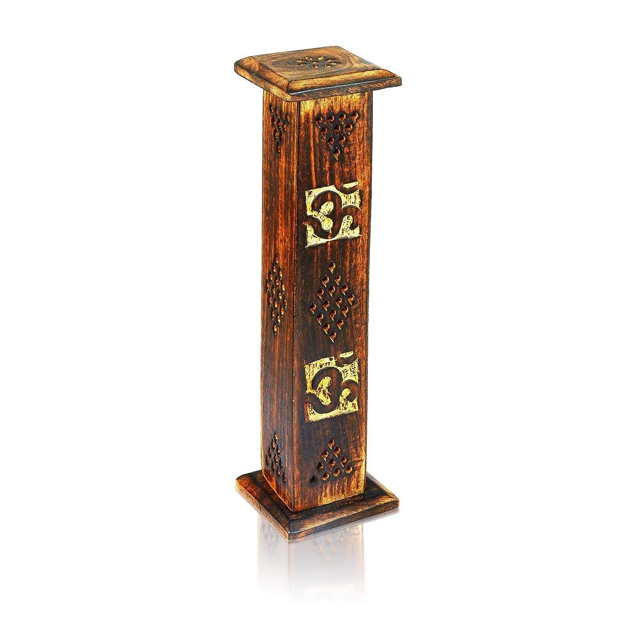バブルトレイルデンマーク語母の日ギフト木製お香スティックコーンバーナーホルダータワーLarge有機Eco Friendly Ashキャッチャー素朴なスタイル手彫りの瞑想ヨガアロマテラピーHome Fragrance製品