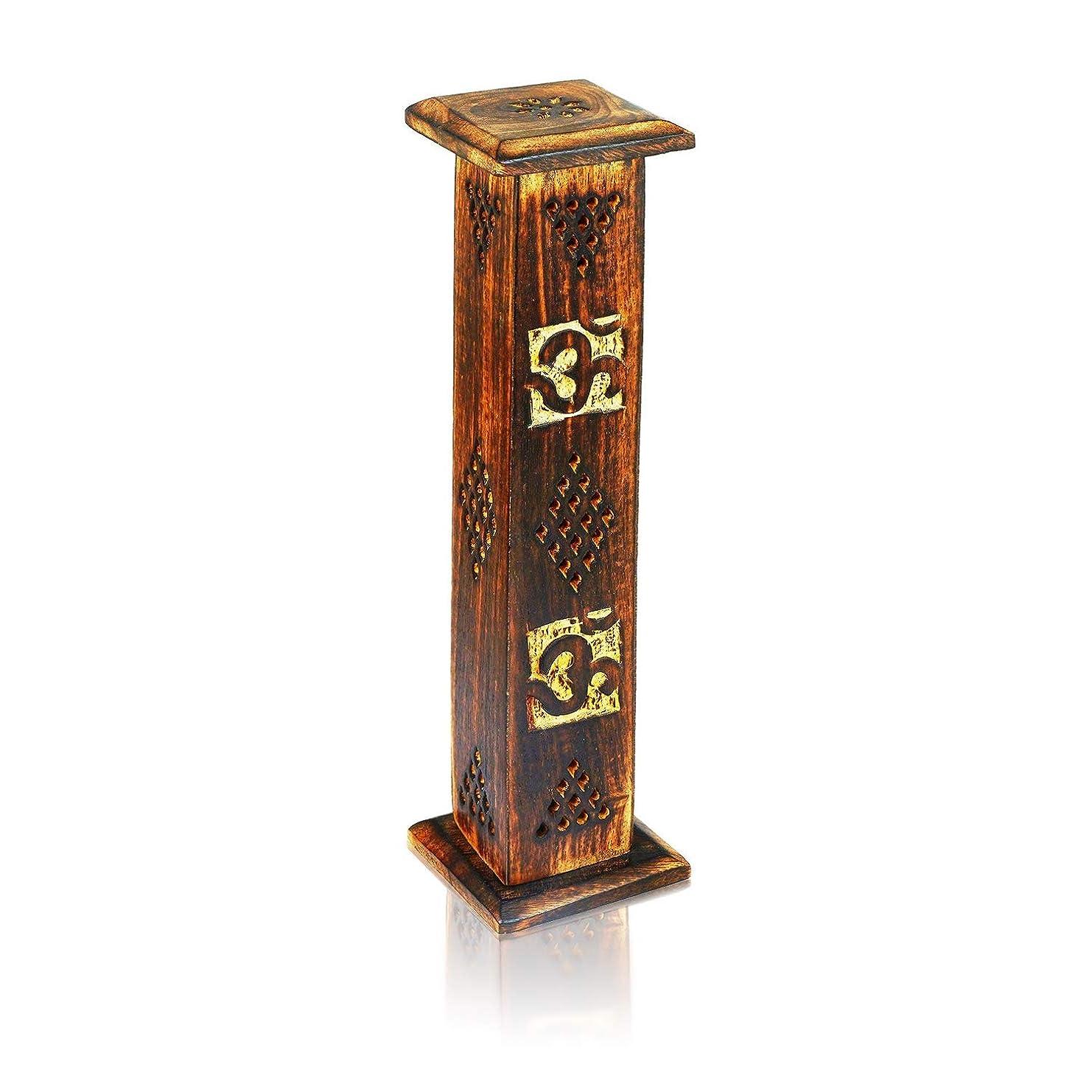 母の日ギフト木製お香スティックコーンバーナーホルダータワーLarge有機Eco Friendly Ashキャッチャー素朴なスタイル手彫りの瞑想ヨガアロマテラピーHome Fragrance製品