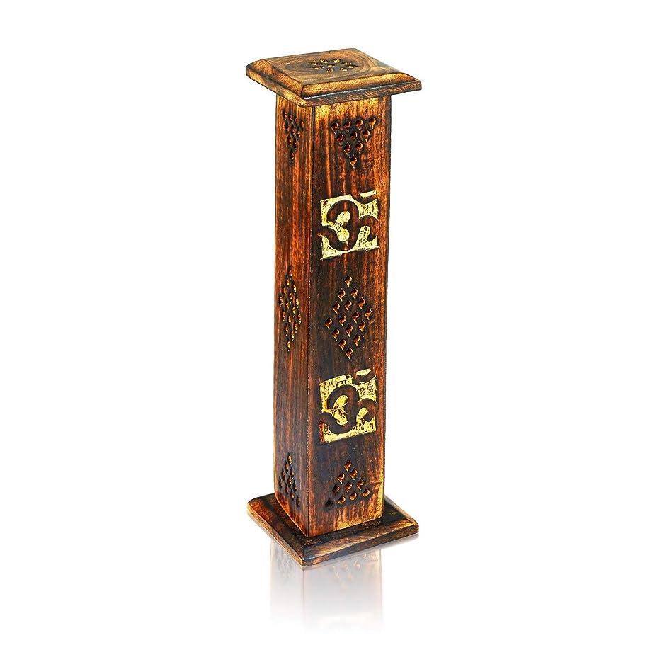 統治可能拮抗する姓母の日ギフト木製お香スティックコーンバーナーホルダータワーLarge有機Eco Friendly Ashキャッチャー素朴なスタイル手彫りの瞑想ヨガアロマテラピーHome Fragrance製品