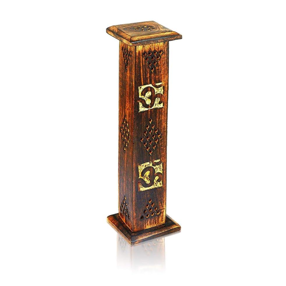 東ティモール脳処方母の日ギフト木製お香スティックコーンバーナーホルダータワーLarge有機Eco Friendly Ashキャッチャー素朴なスタイル手彫りの瞑想ヨガアロマテラピーHome Fragrance製品