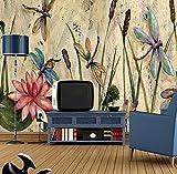 3D Vliestapete Fototapete Tapete Schmetterling Libelle Schilf Blätter Lotus Europäischen Vintage Ölgemälde Drucken Fototapete Room Decor-430 * 300