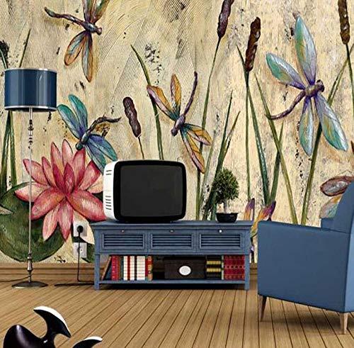 3D vliesbehang fotobehang abstract fotobehang vlinder libel riet bladeren lotus Europese vintage olieverfschilderij print fotobehang room decor 300*210 300 x 210 cm.