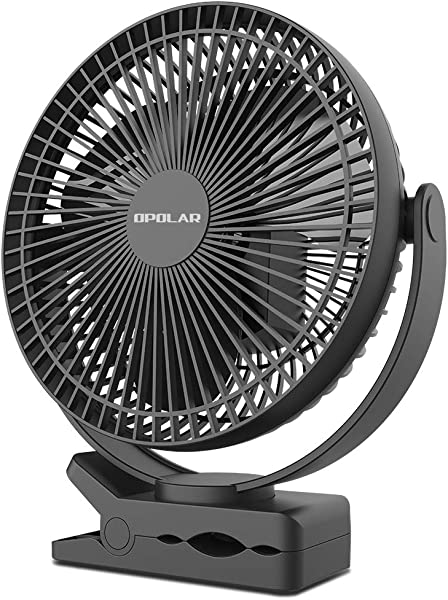 OPOLAR 10000mAh 8 Inch Rechargeable Battery Operated Clip On Fan 4 Speeds Fast Air Circulating USB Fan Sturdy Clamp Portable For Outdoor Camping Tent Beach Or Treadmill Car Personal Desk