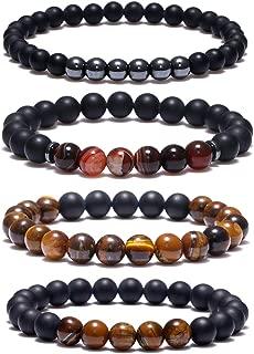 4PCS 8mm Black Matte Onyx Prayer Beads Bracelet Tiger Eye Stone Beads Bracelet for Men Women Elastic Natural Stone Yoga Bracelet
