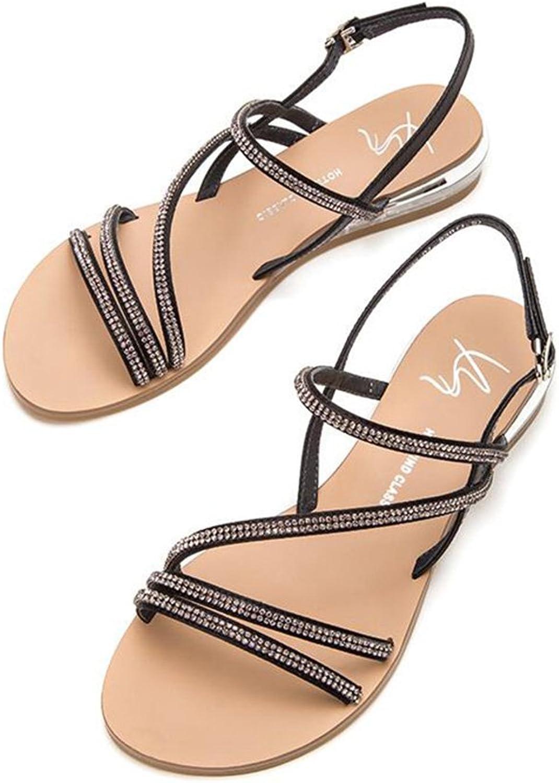 CJC Women's Ankle Strap Sandals (color   Black, Size   EU36 UK3.5 CN35)