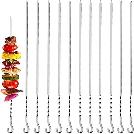 lunghezza 30 cm set da 10 pezzi spiedini per carne barbecue Spiedini per spiedini in 100/% acciaio inox colore argento