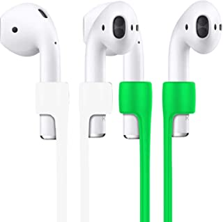 """2Pack Compatible Strap,27"""" Silicone Airpods Ear Hooks for Apple AirPods Smart Accessory ¨C Never Lose Your AirPods Connector Wire Cable Cord for AirPods-White+Green"""