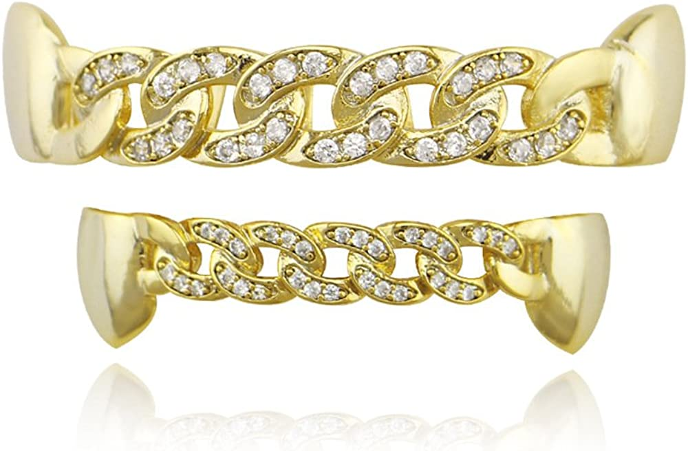 18k Gold Siver Pave CZ Open Face Outline 6 Top and Bottom Grills Teeth