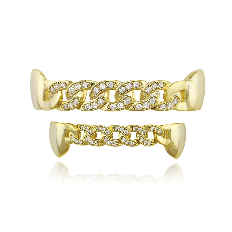 シットコムフローティングムスヒップホップの歯ヒップホップアクセサリーゴールドブレースヒップホップ中空象嵌マイクロジルコンチェーン歯ブラケット男性と女性の取り外し可能な歯セット美しいアクセサリー自信を持って笑顔,Gold