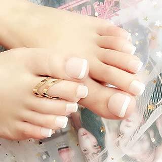Milanco 24pcs French False ToeNails White Nude Press on Nail Short Square Fake Nails Full Cover Feet Nails Art for Women
