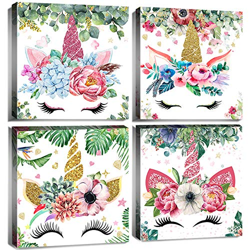 Unicorn Room Decor for Girls Bedroom Boho Pink Flowers Canvas Wall Art Bathroom living Room Watercolor Prints Painting Animal Horns Picture Framed 12x12 Inch Nursery Kids Home Decorations Set 4 Panels